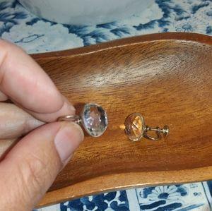 Vintage multifaceted clear screw-back earrings